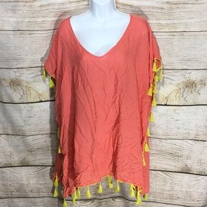 C&T beach cover up coral with lime fringe sunny